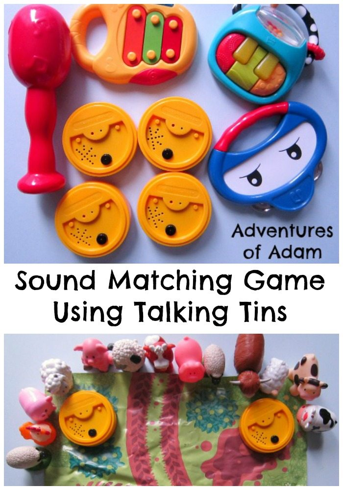Adventures of Adam sound matching game using talking tins