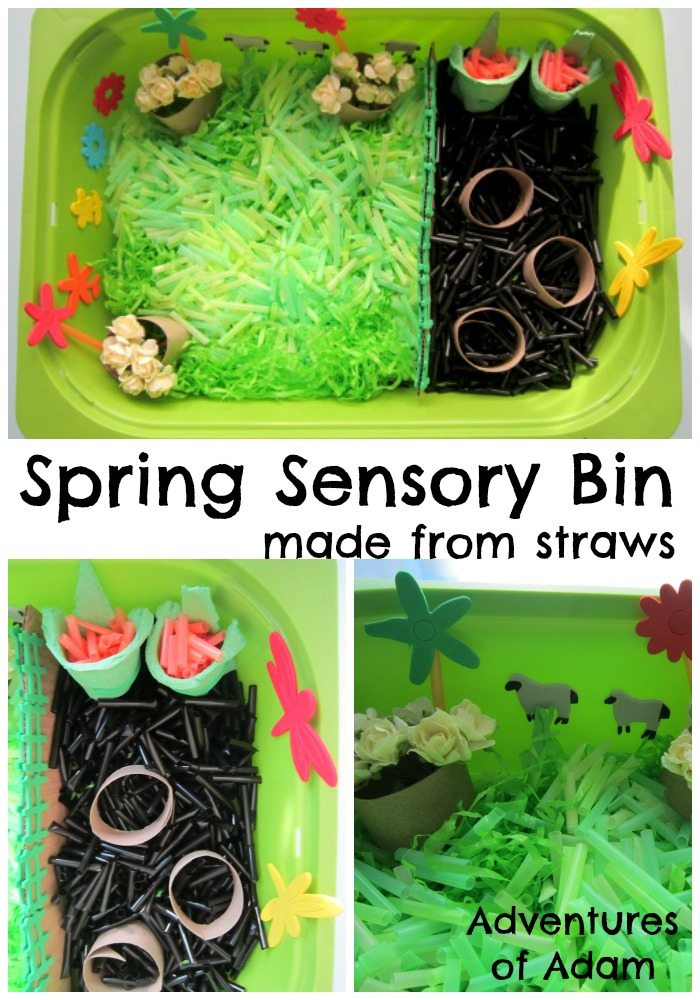 Adventures of Adam Spring sensory bin made from straws