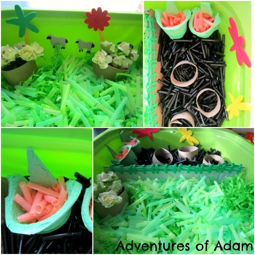 Adventures of Adam Straw sensory bin