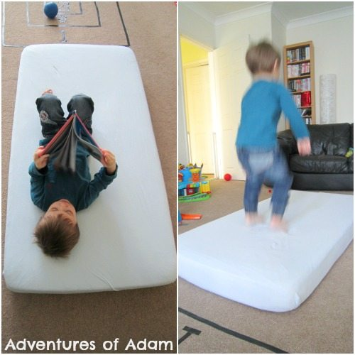 Adventures of Adam Toddler DIY trampoline