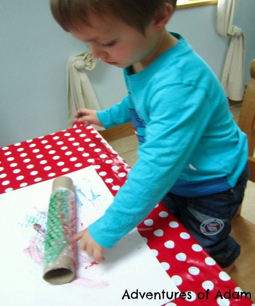 Adventures of Adam Toddler bubble wrap painting