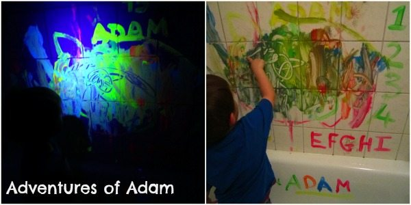 Adventures of Adam Toddler eon painting in the bath