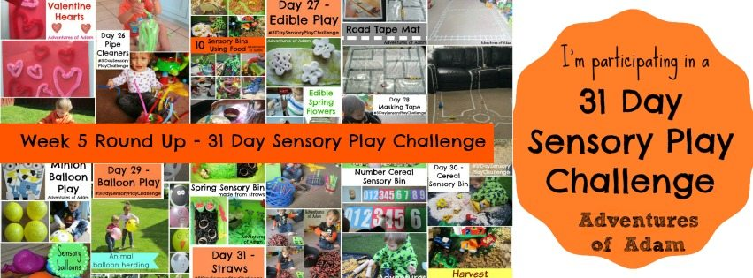 Adventures of Adam Week 5 round up 31 day sensory play challenge