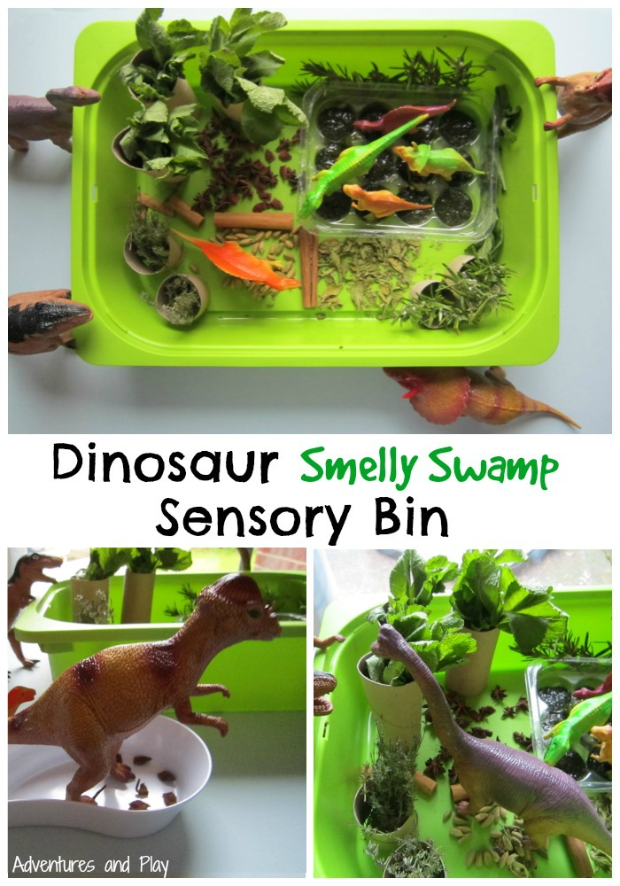 Dinosaur Smelly Swamp Sensory Bin for sense of smell activities
