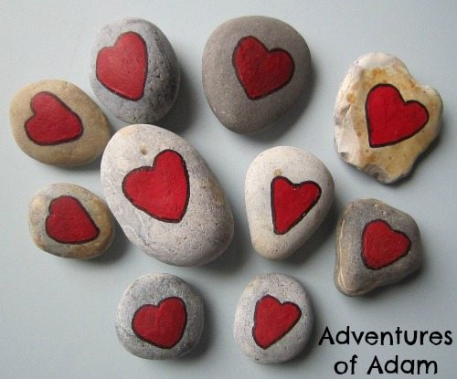 Adventures of Adam Love heart pebbles