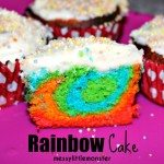 Rainbow coloured fairy cakes