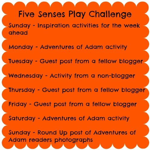 Adventures of Adam Rota for five senses play challenge