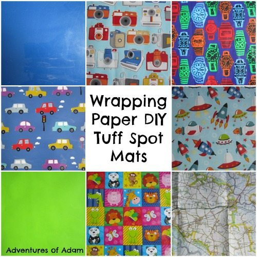 Adventures of Adam Wrapping Paper DIY Tuff Spot Mats