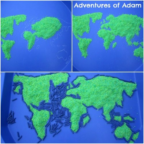 Adventures of Adam Creating a world map out of rice and pasta