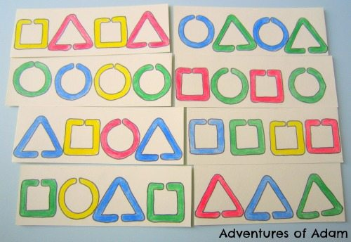 Adventures of Adam Hand made shape sequencing cards