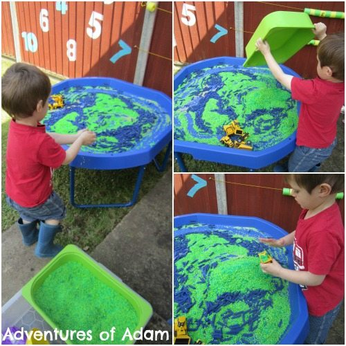 Adventures of Adam World map rice sensory play