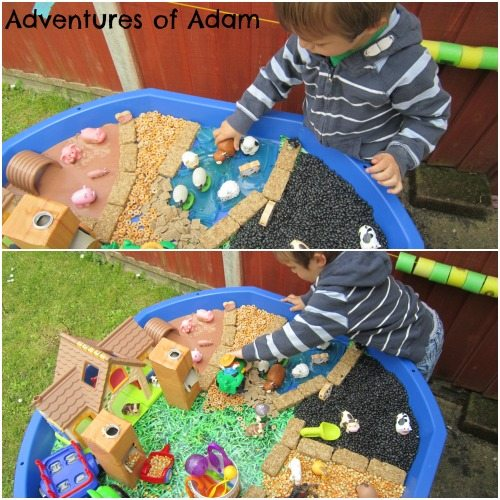Adventures of Adam Food farm sensory bin