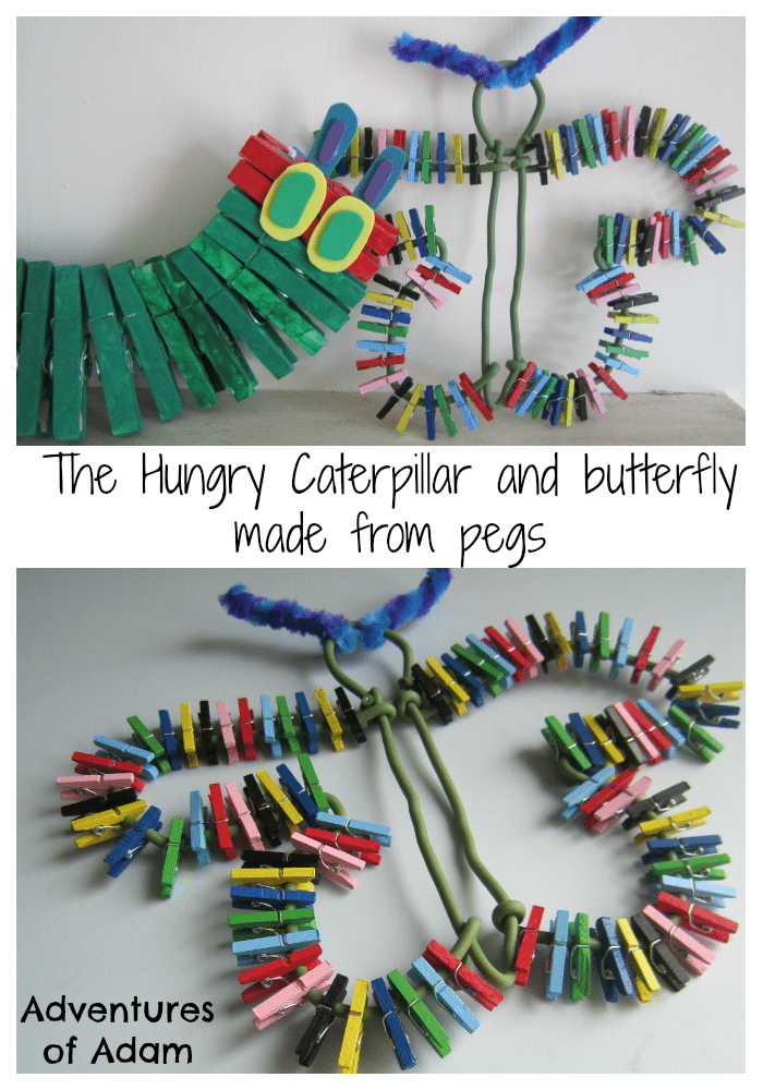 Adventures of Adam Hungry Caterpillar and butterfly made from pegs