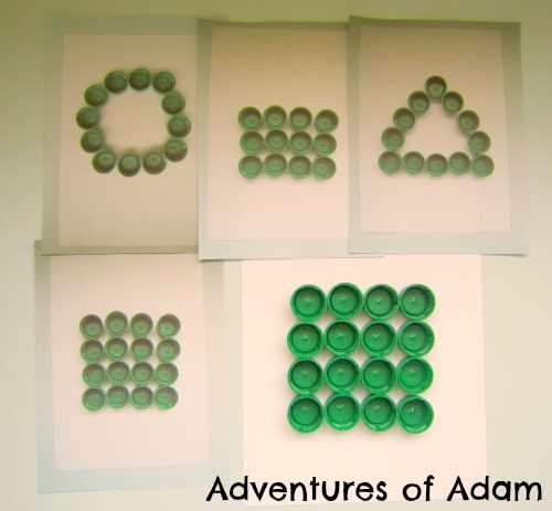Adventures of Adam Making shapes with bottle caps