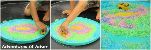 Adventures of Adam Car play in a sensory bin