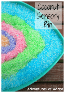 Adventures of Adam Coconut Sensory Bin