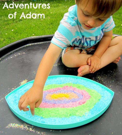 Adventures of Adam colour sensory bin