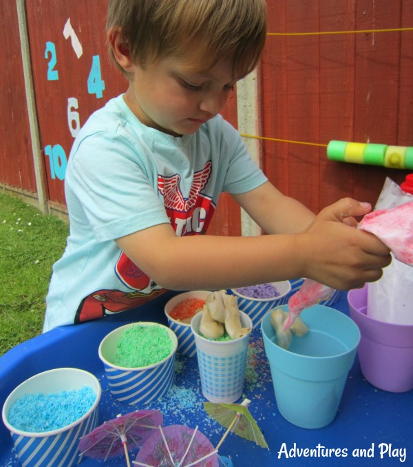 sensory play with ice cream