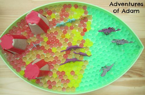 Adventures of Adam water bead sensory bin
