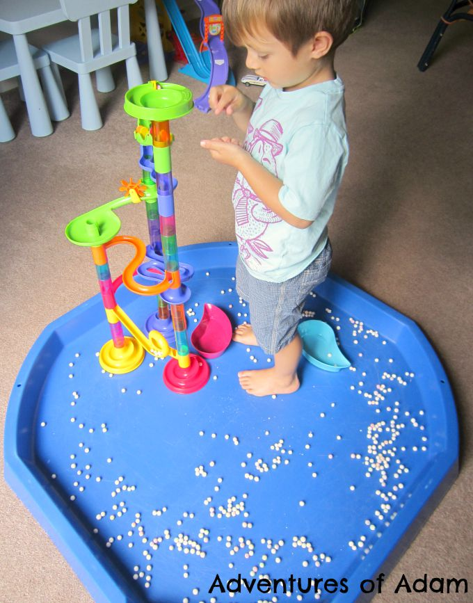 Adventures of Adam Dry tapioca pearl sensory play