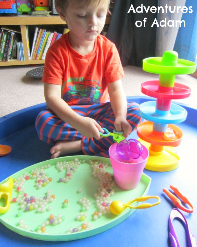 Adventures of Adam Fine motor play with Tapioca Pearls