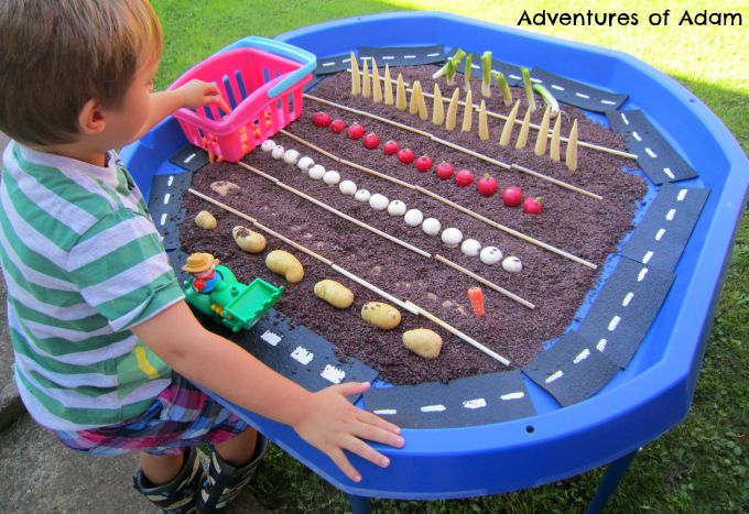 Adventures of Adam Harvest sensory play