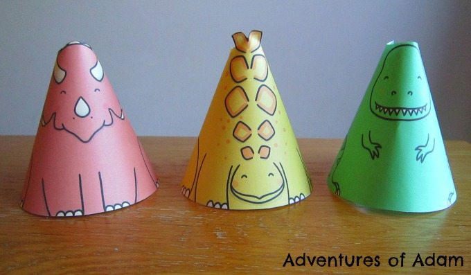 Adventures of Adam Coloured dinosaur cones
