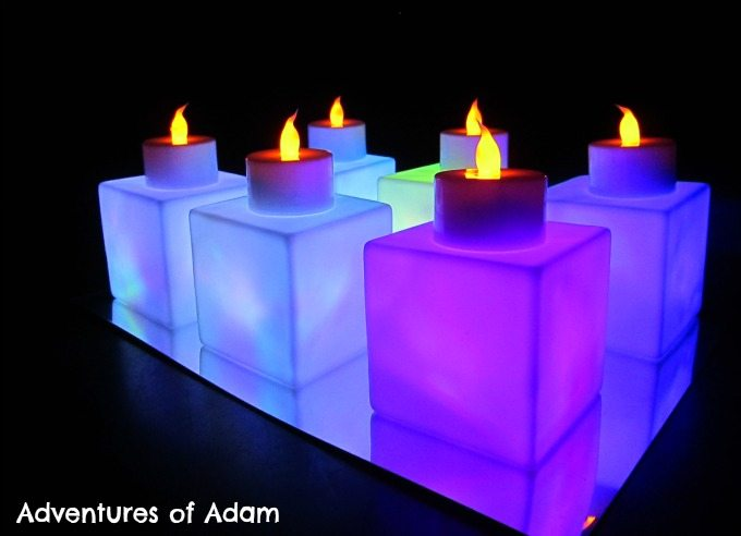 Adventures of Adam Flickering tea light sensory play