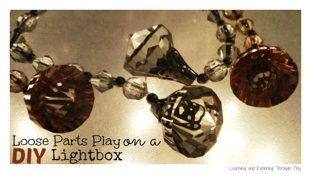Loose parts play on a DIY lightbox