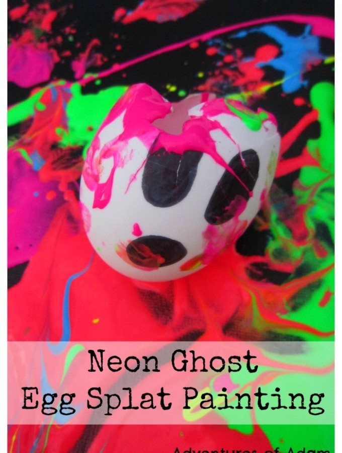 Neon Ghost Egg Splat Painting