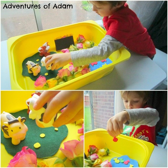 Adventures of Adam Toddler nursery rhyme sensory bin