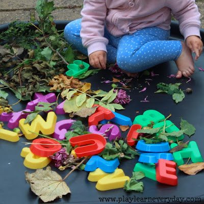 autumn abc discovery tray - exploring