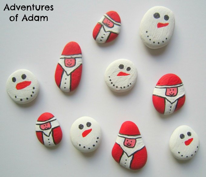 Father Christmas and Snowmen pebbles