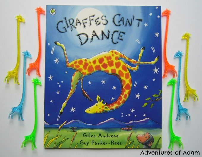 Adventures of Adam Giraffes Can't Dance play activity with giraffe cocktail stirrers