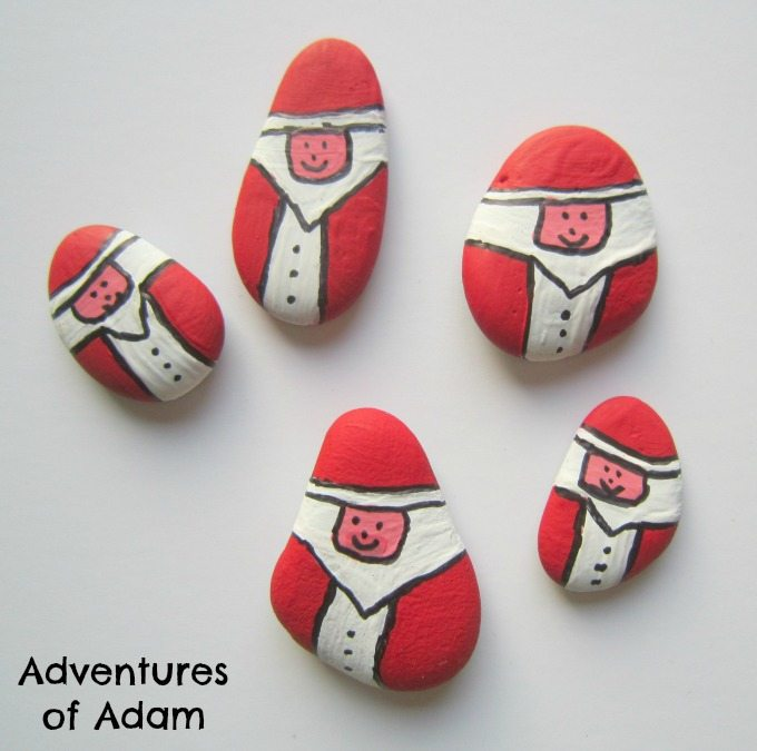 Homemade Father Christmas stones