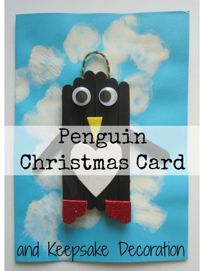 Homemade Penguin Christmas Card