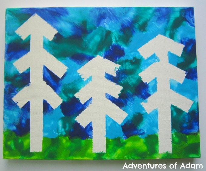 Adventures of Adam Masking tape Christmas Tree Canvas painting