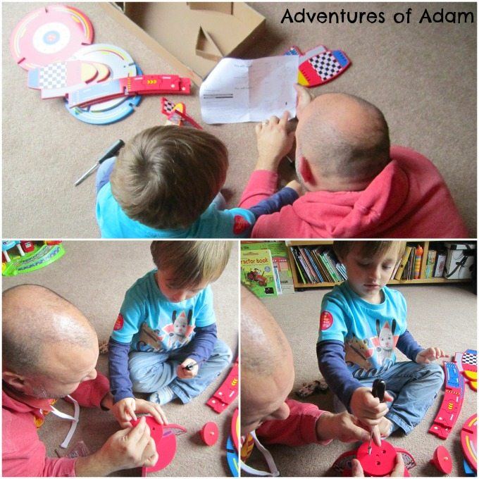 Putting together the wooden rocket from Asda