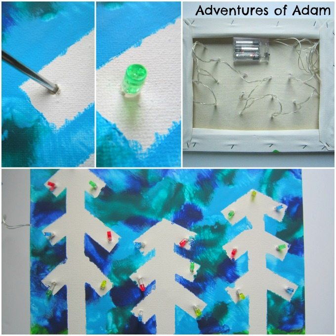 Adventures of Adam Using battery operated fairy lights on a canvas