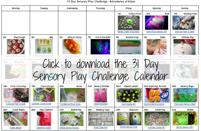 31 Day Sensory Play Challenge calendar download