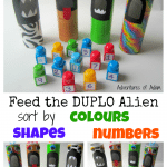 Feed the Duplo Alien. Sort by colours, shapes and numbers