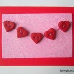 Handmade clay heart button card