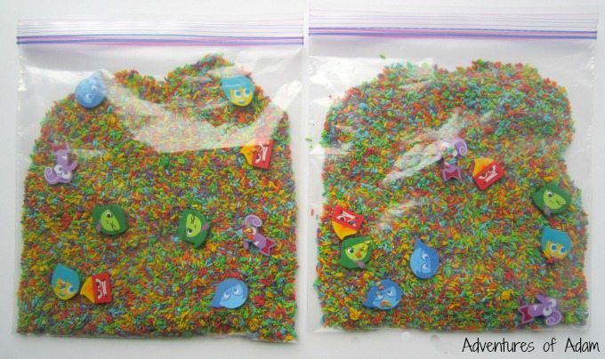 Rainbow rice sensory bag