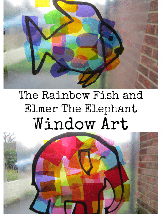 Window Art – The Rainbow Fish and Elmer The Elephant