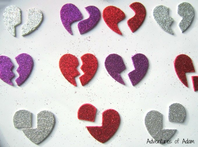 Broken hearts foam stickers
