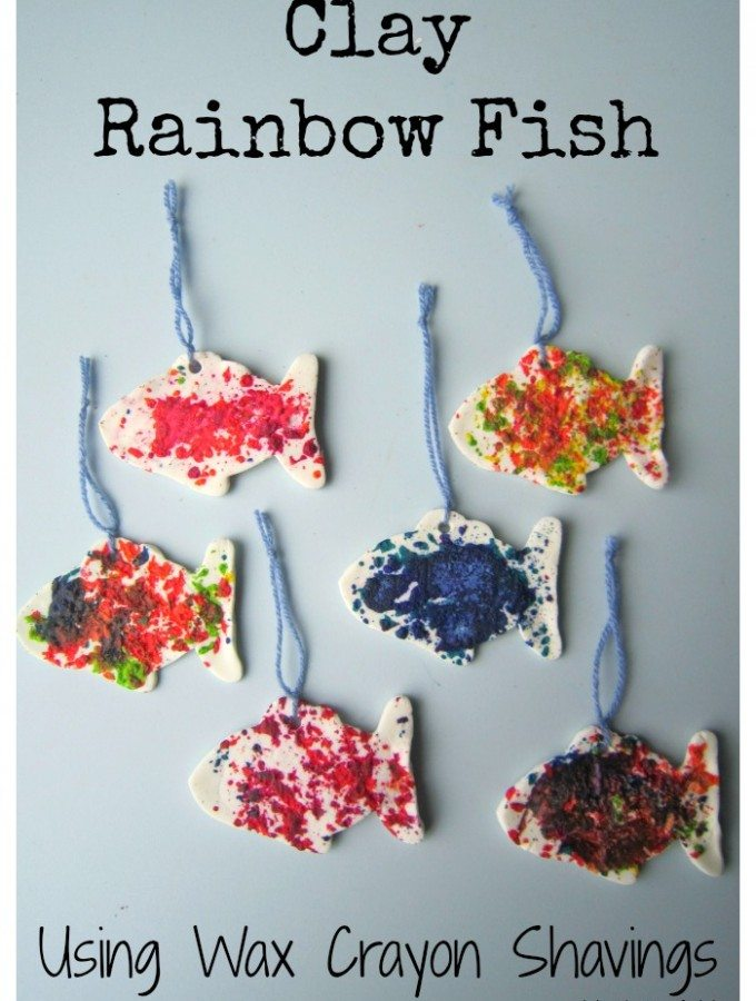Clay Rainbow Fish Using Wax Crayon Shavings