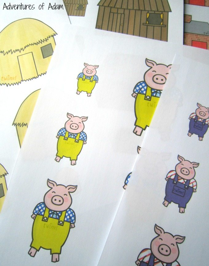 Different sized three little pigs