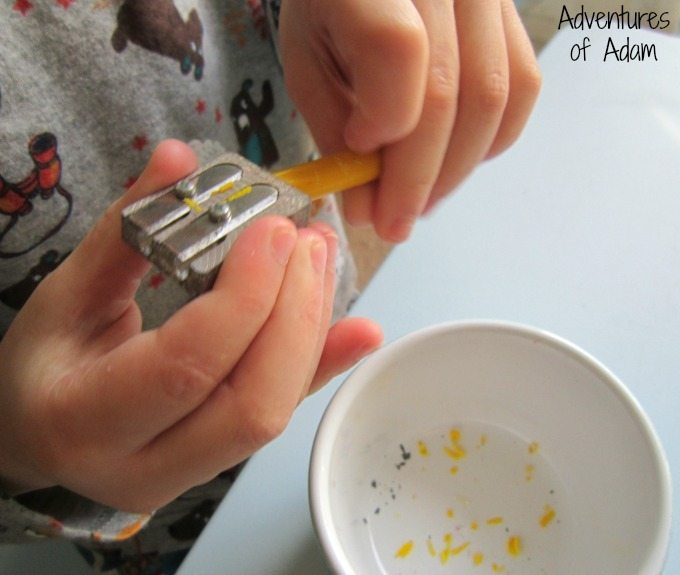 Fine motor skills with a pencil sharpener