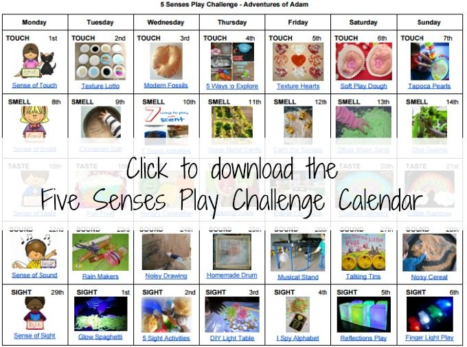 Five Senses Play Challenge Calendar