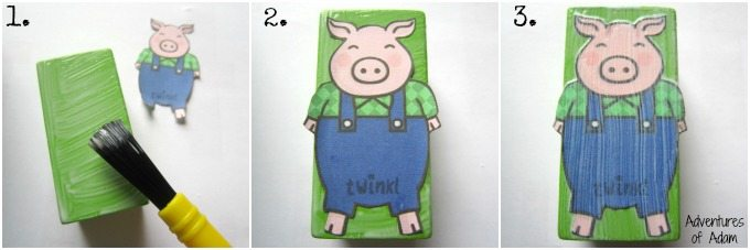 How to make three little pigs from wooden blocks